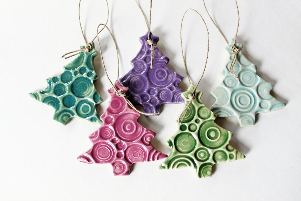 Pottery ornaments set of 5 handmade christmas tree by misspottery