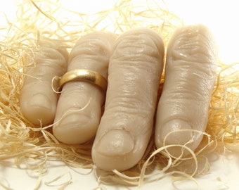 Dead Finger Soap, Set of 4 Fingers, Gag Gift, Halloween Treats, Party Favors, Scented Vegan, Pick Own Scent, Anatomy  Soap