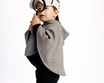 Sherlock Holmes Wool Detective Cape for Girls or Boys - Sizes Newborn to 9/10 - Inverness Cape Costume for Kids Dress Up or Pretend Play