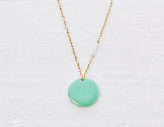 Mint Coin - round turquoise disc long necklace - modern simple jewelry - edor