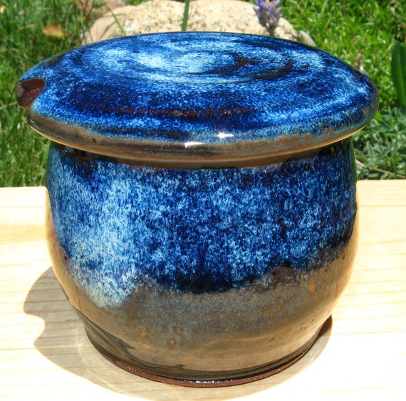French Butter Crock in Shades of Blue