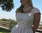 Retro 1950's Dress White with Red Polka Dots