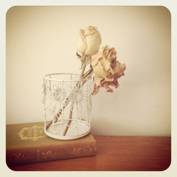 Wire Pencil Holder - White Shabby Chic - Floral - Storage Container