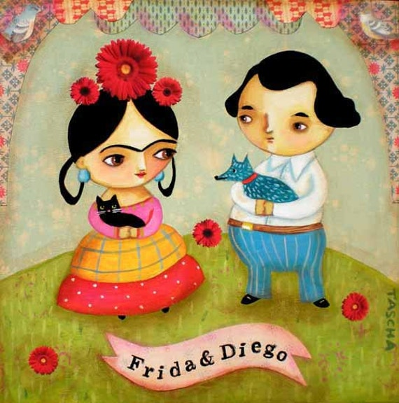 Frida Kahlo and Deigo black cat blue dog PRINT of an original mixed media painting by tascha 6x6