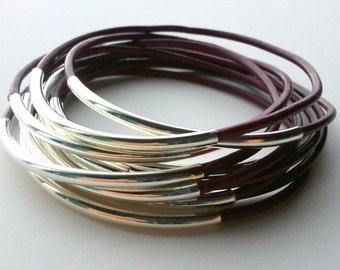 Leather Bracelet - Leather Bangle - Maroon Bangle -  Leather Bracelet - Boho Bracelet - Boho Leather Bracelet - Boho Stackable Bracelets