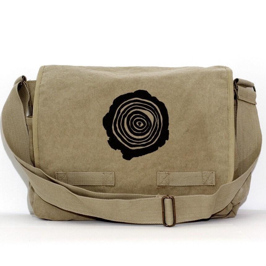 Messenger Bag, Tree Rings, Crossbody Large Canvas, Laptop ...