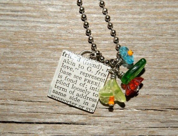 Friend - Altered Vintage Glass Watch Crystal Pendant Necklace - Recycled Upcycled - Ready To Ship