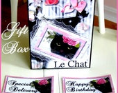 Paris Chic Kitty Large Gift Box for Birthdays, Congratulations, Thank You Digital, Download, U-print Cottage Chic