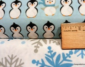 2 Piece Fat Quarter Bundle of Quilt Fabric, Cute Penguins in Rows and Snowflakes in Shades of Aqua, Gray & White From Benartex,  Supplies