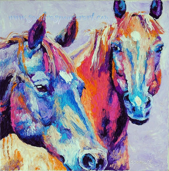 Original Pink and Blue Horse Painting 10x10