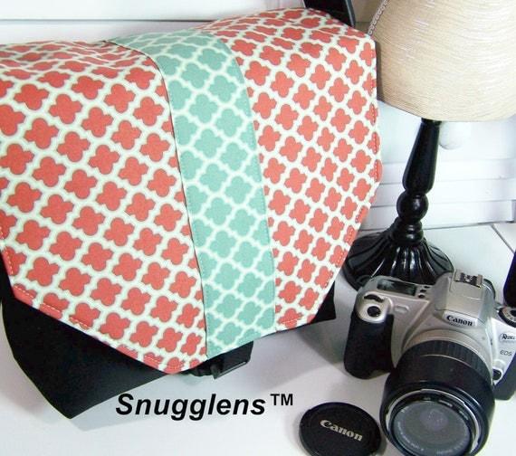 Ready to Ship Premade Camera Bag Purse MED terra cotta and azure lattice-black interior-Snugglens