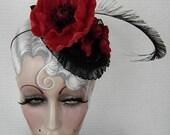 Poppy Flower Headpiece Fascinator Cocktail Hat Bright Red Orange