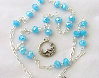 SALE Mermaid Necklace Light Blue Necklace Y Necklace Mermaid Sky Blue Faceted Glass Y Style Necklace