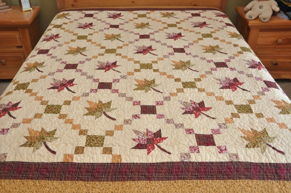 King size maple Leaf Machine quilted Patchwork Quilt
