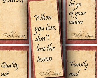 INSTANT DOWNLOAD Three Digital Collage Sheets Dalai Lama Teachings Buddhism Inspirational Quotes Bookmarks 1.8 x 5 Inch Crafts Tags (BK4)