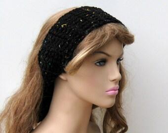 Black Fleck Dread head band dreadband wrap hippie headband scarf, woman head wrap, tie headband, man head band dread band