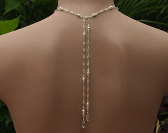 Bridal Lariat - Swarovski Pearls and Crystals with Sterling Silver Filigree Chain Lariat with Backdrops