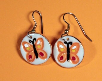 Orange ButterflyDangle Earrings Handmade Porcelain Ceramic Jewelry