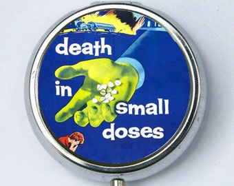 Death in Small Doses pillbox pill case box holder pulp odd