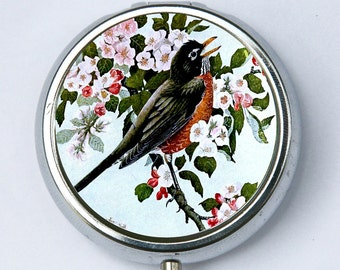Robin bird PILL CASE pillbox pill case pill box flowers hipster pretty