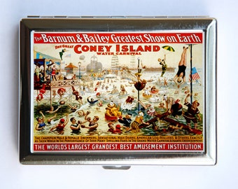 Coney Island Circus Poster Cigarette Case Wallet Business Card Holder circus sideshow boxers clowns