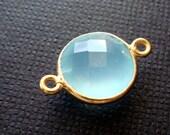 17mm (10mm Stone) Gold Bezel Gemstone Pendant Connector Aqua Chalcedony F391- 2 pcs