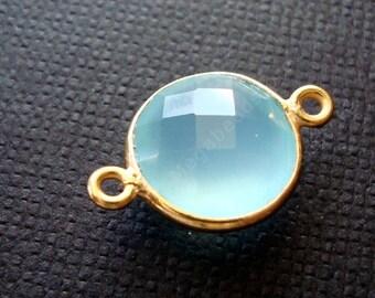 2 pcs 10mm Gold Bezel Gemstone Pendant Connector Aqua Chalcedony F391