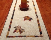 Fall Leaves Quilted Table Runner - 16 inches x 47 inches