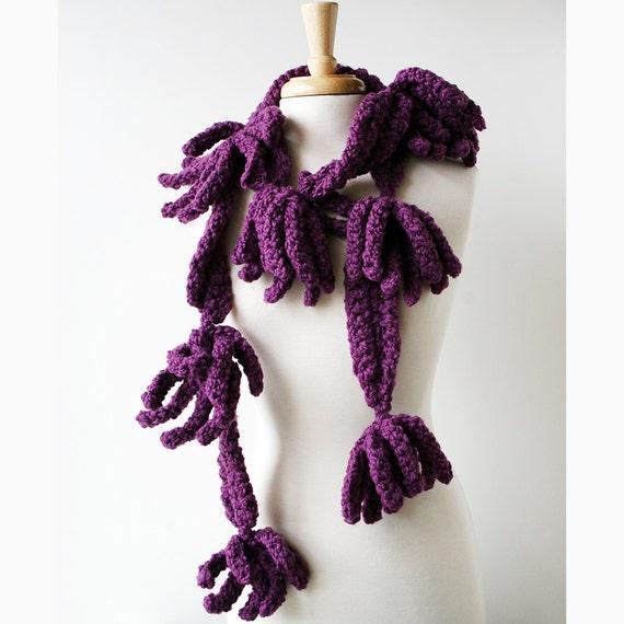Fiber Art Scarf - Autumn Fashion Crochet Scarf - Merino Wool - Purple Plum