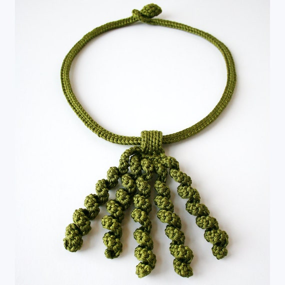 Wearable Fiber Art Jewelry - Silk Crocheted Lace Necklace / Lariat - Olive Green