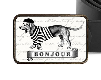 French Dog Belt Buckle, Dachshund Belt Buckle