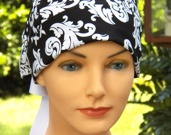 Scrub Hats // Scrub Caps // Scrub Hats for Women // The Hat Cottage // Small // Ribbon Ties // Black and White Damask