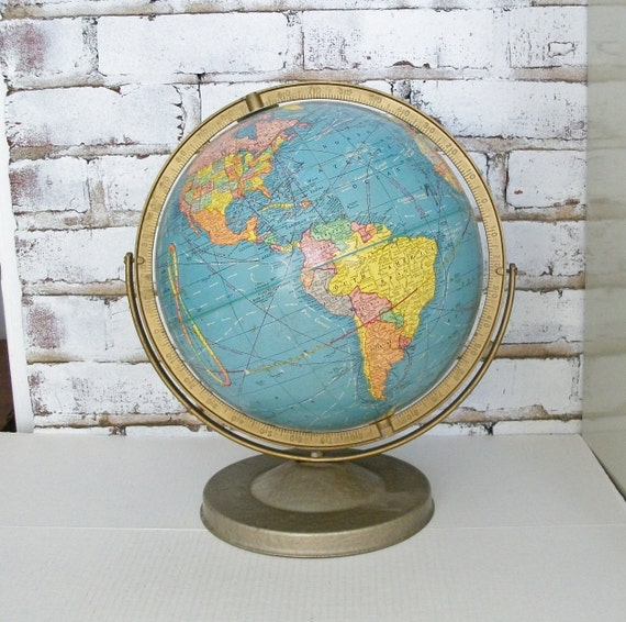 1960s Vintage Cram Imperial World Globe 12 Inch on Stand