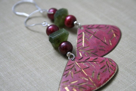 Green Vesuvianite, Burgundy Pearl and Vintage Ethnic Shields