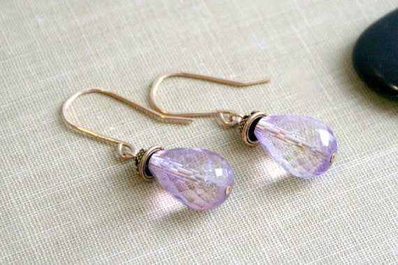 14K Gold FIll LIght Purple Faceted Amethyst Sterling Silver Earrings