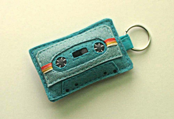 Cassette Tape Keyring  - Teal Mix Tape Keychain