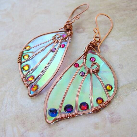 Sidhe Wings Earrings - The Elf-Queen in Copper - Iridescent Faery Wing Earrings - Fairy Wings - Faerie Wings