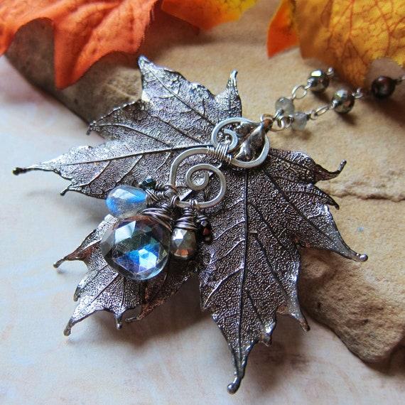 Sylvan Leaves- Real Maple Leaf in Faery Twilight - Mystic Quartz, Pyrite, and Labradorite