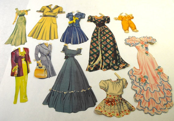 Vintage 1940's Paper Doll Outfits