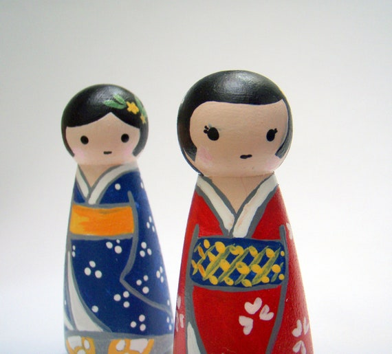 Akari and Machi. Best Friends - An Original Kokeshi Peg Art Doll Set