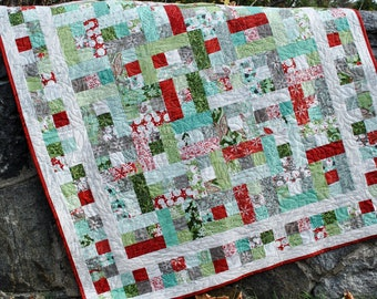 Quilt Pattern with Blitzen fabric....Easy and Quick...Baby and Lap quilt sizes, A Good Day