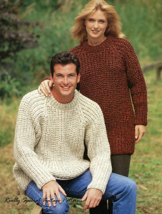 Classic Sweater Fishermans Rib Vintage Knitting Pattern