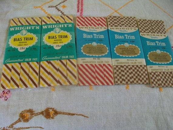 5 Vintage Bias Tape Stripes, Brown Checks, Candy Cane
