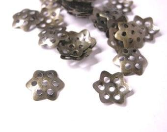 100pc 10mm antique bronze metal bead cap-204