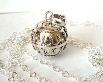 16mm Mexican Bola Sterling Silver Maternity Pregnancy Harmony ball Chime Necklace chain CN3