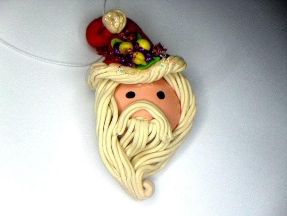 Holiday ornament polymer clay hand sculpted santa cute christmas