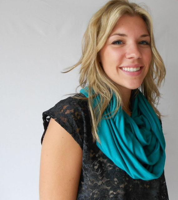 Infinity scarf, circle scarf, teal stretch jersey