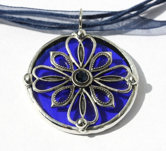 Round Stained Glass and Art Nouveau Filigree Pendant