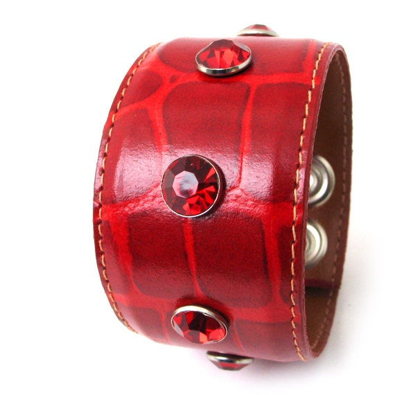 Red Leather Cuff Bracelet with Giant Sparkles, EcoFriendly, OOAK