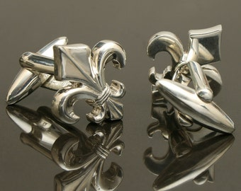 Gothic Fleur de Lis Cufflinks, Sterling Silver, handcrafted /  NEW Collection